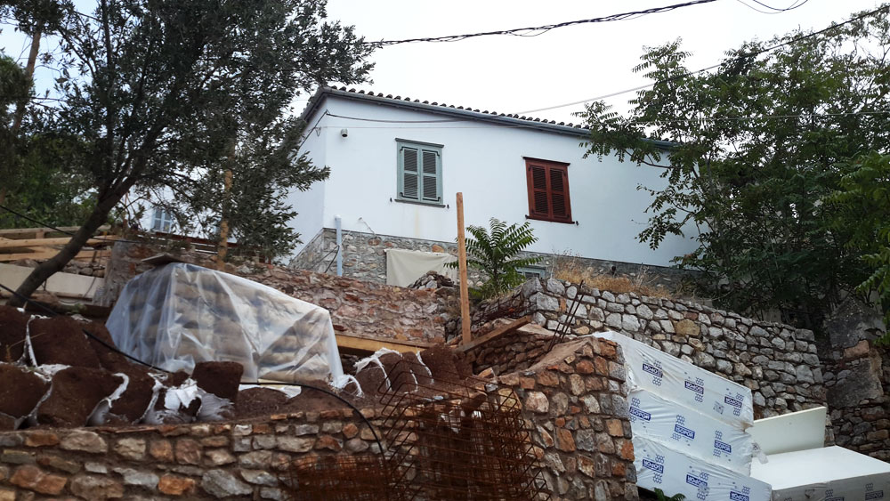 A semi detached house situated in Upper Kamini on the Greek island of Hydra.